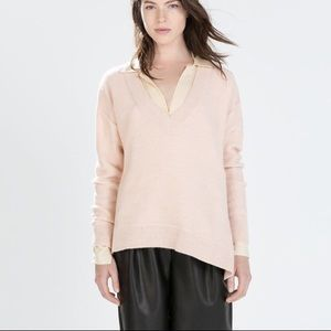 Zara knit Italian yarn asymmetrical sweater wool M